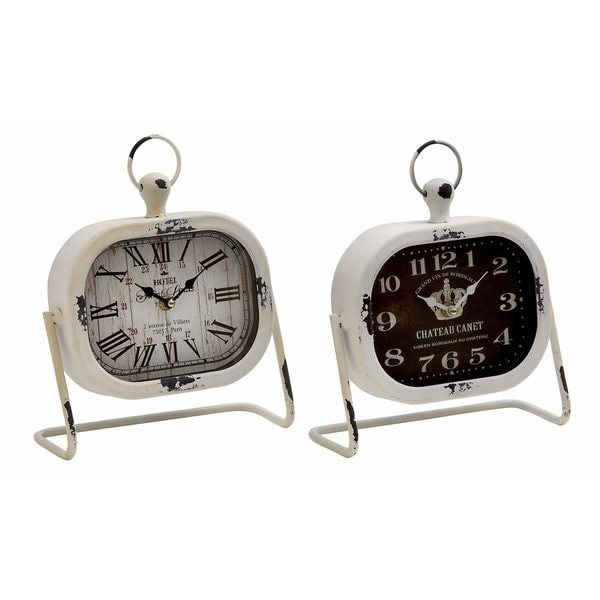 The Gray Barn Crow Haven Assorted Rustic Distressed Metal Table Clock (Set of 2)
