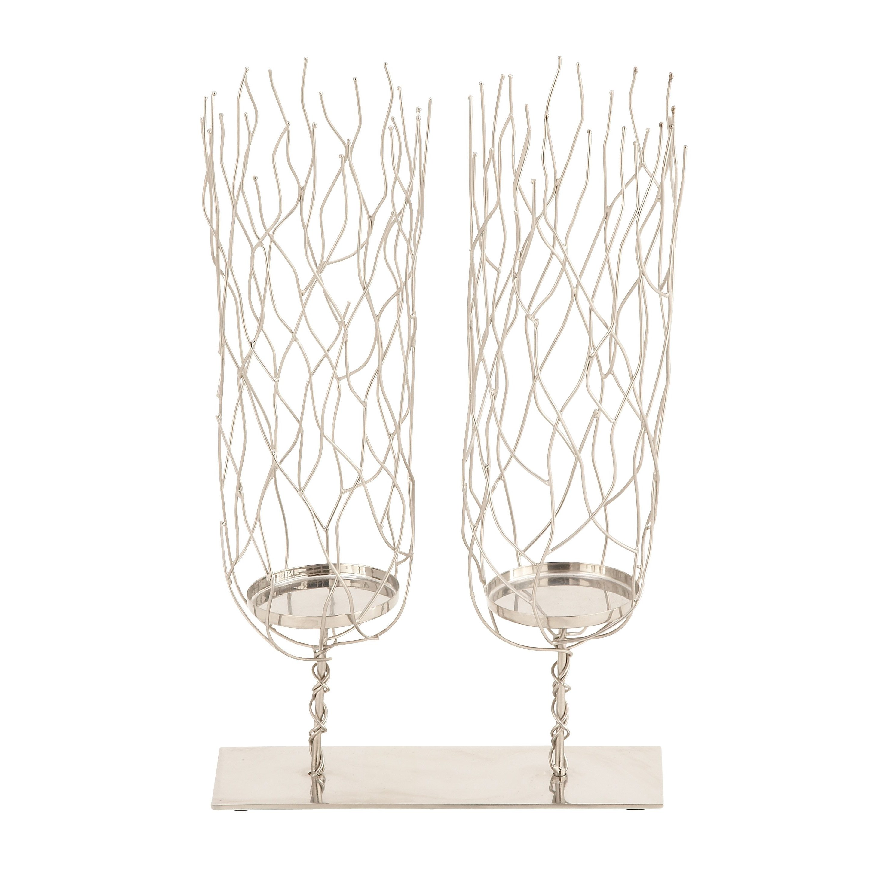 Modern Reflections Silver Stainless Steel Candleholder