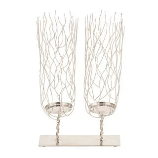 Modern Reflections Silver Stainless Steel Candleholder - Thumbnail 0