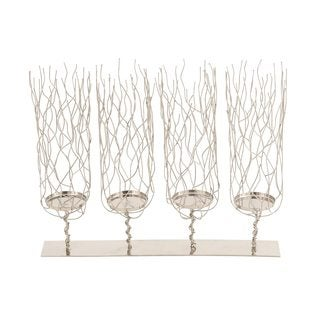 Stainless Steel, Silver Metallic Finish Candle Holder