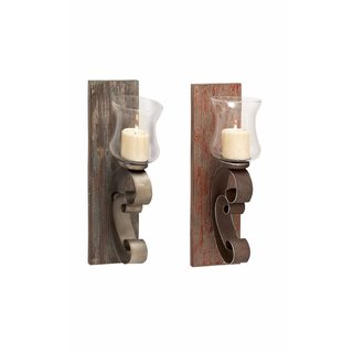 Wood and Metal and Glass Candle Holder (Set of 2)
