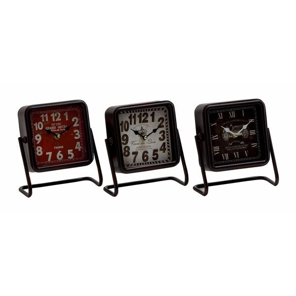 Carbon Loft Ostriker Metal Square Table Clock (Pack of 3)