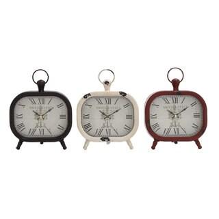 Rustic Elegance Assorted Metal and Wood Table Clocks (Pack of 3)