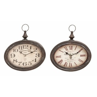 Link to The Gray Barn Joyful Stream Black and Ivory Metal Wall Clock (Set of 2) Similar Items in Decorative Accessories