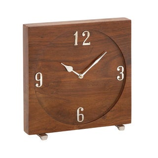 Rustic Reflections Brown Wood/Metal Table Clock