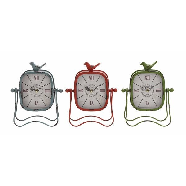 Assorted Iron Table Clocks (Pack of 3)