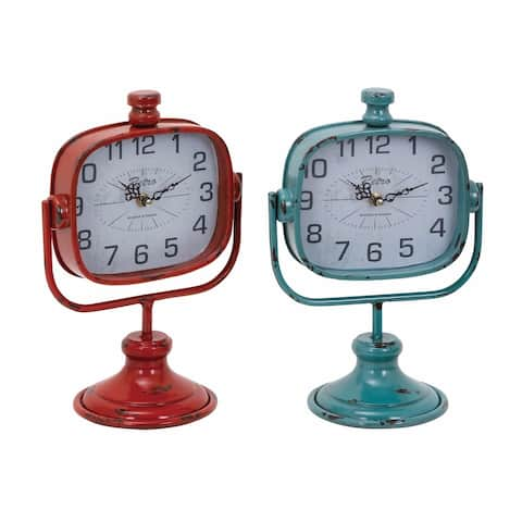The Curated Nomad Edgehill Metal Shabby Chic Clock (Set of 2)