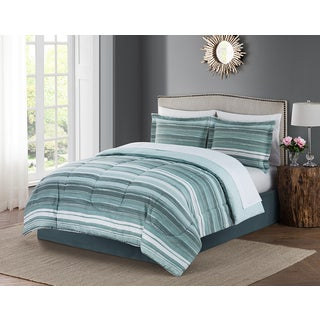 Style Decor Bruno Green Stripe 8-piece Bed-in-a-Bag Bedding Set