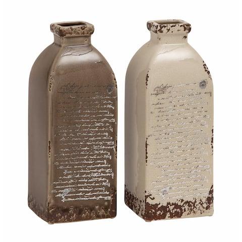 The Gray Barn Joyful Stream Taupe/White Ceramic Rustic Vase (Set of 2)