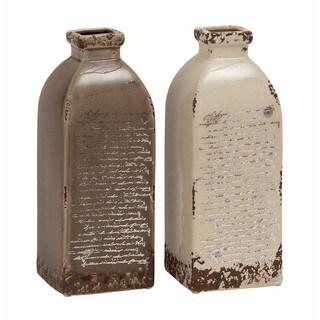 Taupe/White Ceramic Rustic Vase (Set of 2)
