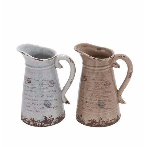 Maison Rouge Lamartine Ceramic Distressed Pitcher (Set of 2)
