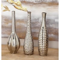 Studio 350 Silvertoned Ceramic Vase (Pack of 3)