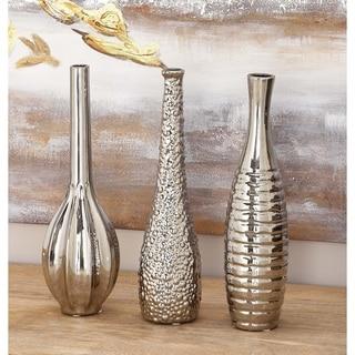 Silvertoned Ceramic Vase (Pack of 3)