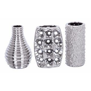Modern Reflections Silver-tone Ceramic Vases (Pack of 3)|https://ak1.ostkcdn.com/images/products/14522186/P21076312.jpg?impolicy=medium