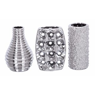 Modern Reflections Silver-tone Ceramic Vases (Pack of 3)