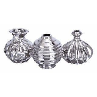 Silvertone Polished Ceramic Vase (Pack of 3)
