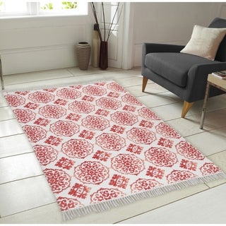 Printed Pattern Hand-Woven Vintage Area Rug with Fringes - 5' x 7' (2 options available)