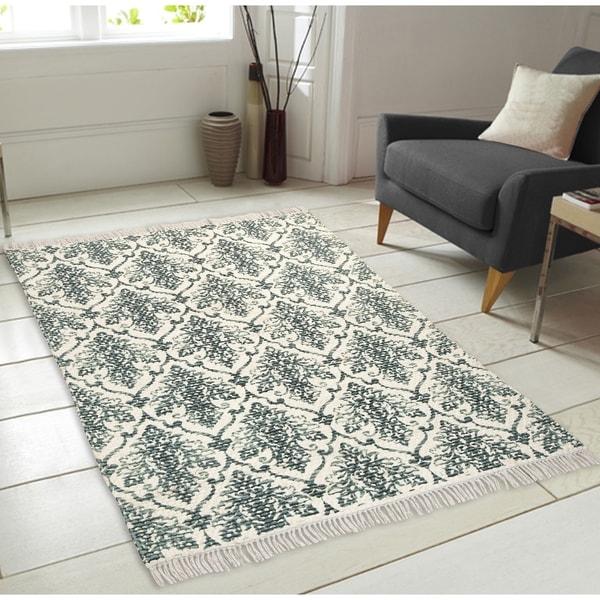 Shop Chesapeake Fuga Chindi Ornate Pattern-Teal Area Rug