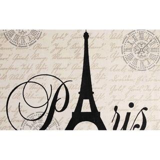 Chesapeake Paris Printed Cotton Eiffel Typography Accent Rug