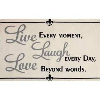 "Live, Laugh, Love Cotton Printed Accent Rug (24""x36"")"