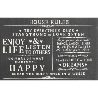 Chesapeake Paris Printed Cotton House Rules Typography Accent Rug