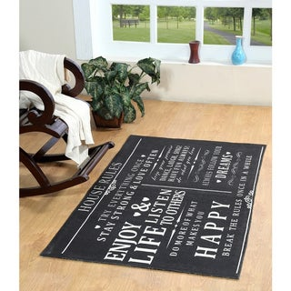 House Rules Cotton Printed Accent Rug