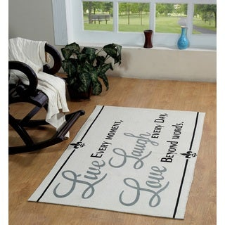 Live, Laugh, Love Cotton Printed Accent Rug (3'x5')