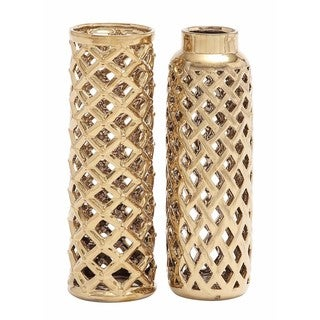 Gold-tone Ceramic Vase (Set of 2)