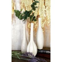 "Modern Style Tall White Ceramic Bud Vases with Textural Finishes Set of 3 - 4"" x 12"", 3"" x 12"", 3"" x 12"""