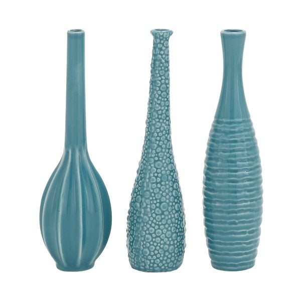 Modern Reflections Turquoise Ceramic Vases (Pack of 3)