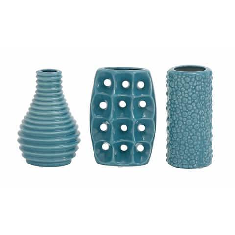 Strick & Bolton Tatum 3-piece Blue Ceramic Vase Pack