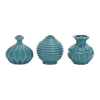 Modern Reflections Teal Blue Ceramic Vases (Pack of 3)