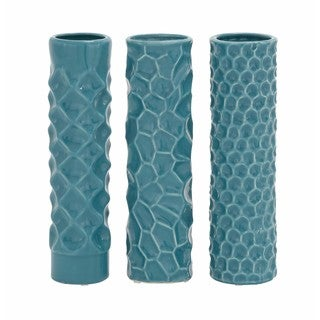 Teal Ceramic Tower Vases (Set of 3)