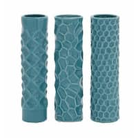 Carson Carrington Alavus Teal Ceramic Tower Vases (Set of 3)