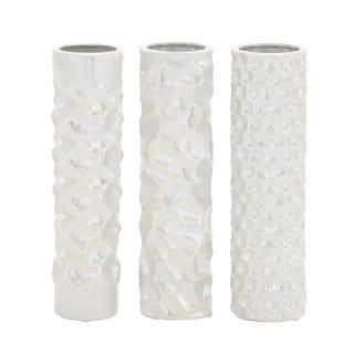 White Ceramic Vase (Pack of 3)