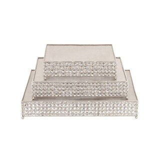 Party Essentials Square Silver Beaded Cake Stand (Set of 3)