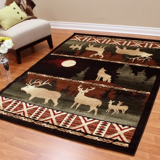 Lodge Design Deers, Moon and Wolf Black Area Rug (5'2 x 7'0.5)