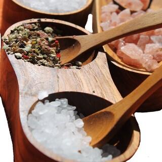 Handmade Teak Salt and Pepper Holder with Spoons (India)