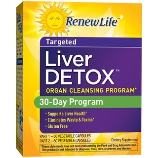 Renew Life Liver Detox Part 1 & Part 2 (60 Vegetable Capsules Each)