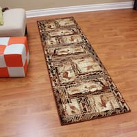 Lodge Design Moose, Deer & Duck Tan Color Runner (2'2 x7'1) - 2'2 x 7'1
