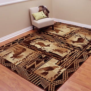 Lodge Design Moose, Deer and Duck Tan Area Rug (7'6.75 x 10'5)