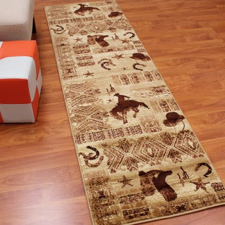 Lodge Design Boots and Cowboy Beige Runner (2'1.75 x 7'1.75)