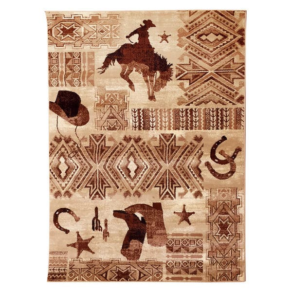 Boots And Cowboy Beige Area Rug