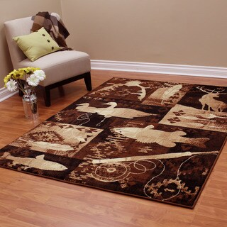 Lodge Design Fish, Duck and Deer Brown Area Rug (5'2.25 x 7'1.25)