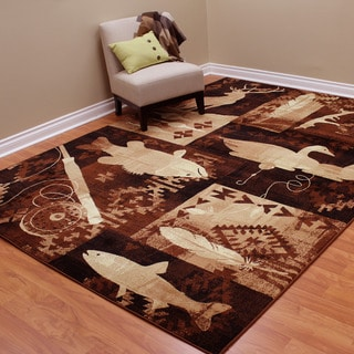 Lodge Design Fish, Duck and Deer Brown Area Rug (7'6.5 x 10'4)