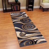 "Sculpture Abstract Swirl Design Blue Runner (2'7.25 x 7'1.5) - 2'7"" x 7'3"""