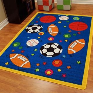 Paradise design Sports balls blue color area rug (4'11 x 6'10)