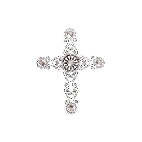 Classic Elegance Black Iron 27-inch Wall Cross With Acrylic Jewels