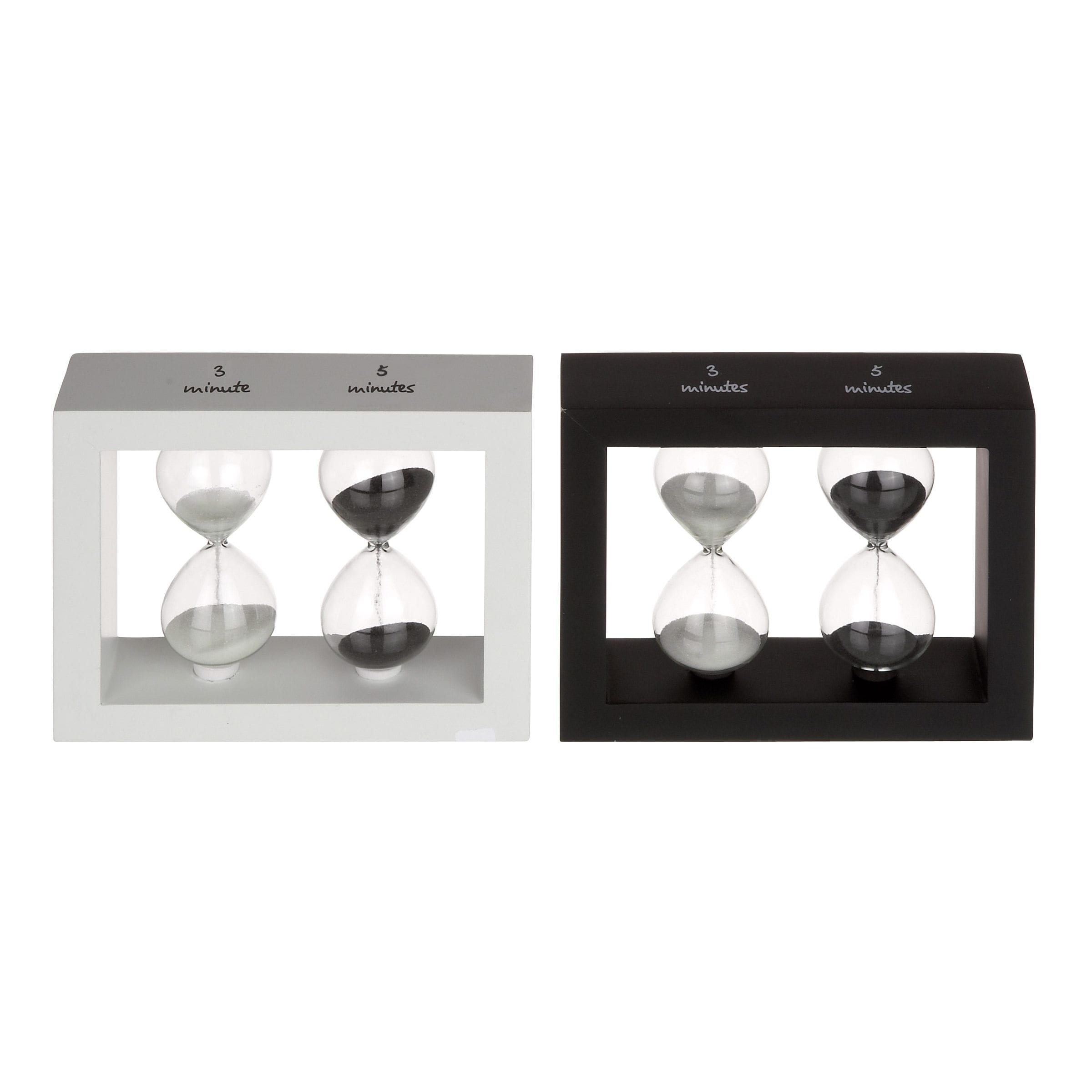 Modern Reflections Wood and Glass Black/ White Sand Timer (Set of 2)