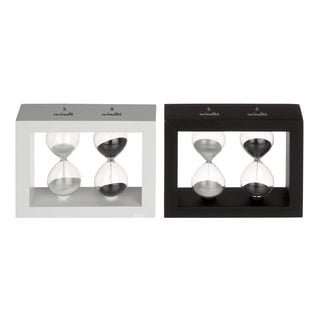 Modern Reflections Wood and Glass Black/ White Sand Timer (Set of 2) - Thumbnail 0